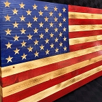 Traditional Rustic Wood American Flag