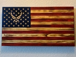 Air Force Rustic Wood American Flag